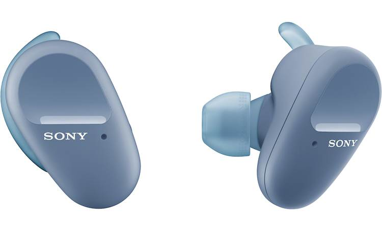"Sony WF-SP800N Winged ""arc supporters"" help keep earbuds secure and stable as you move"
