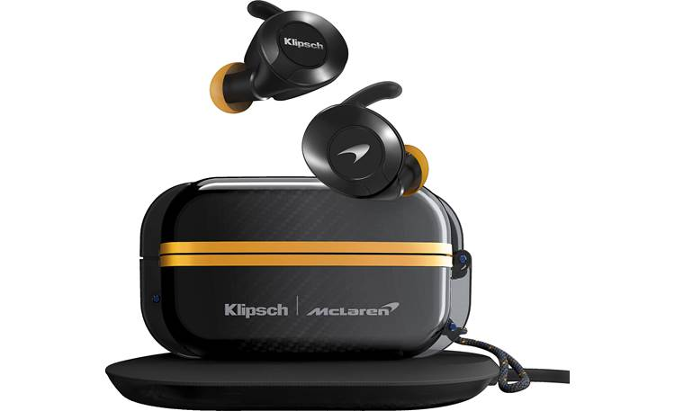 Klipsch T5 II True Wireless Sport (McLaren Edition) Earbuds offer eight hours of battery life and case banks 24 hours of power to recharge them