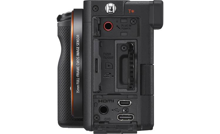Sony Alpha 7C (no lens included) Shown from side with connection panels open