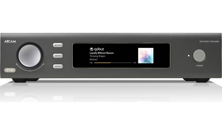 Arcam ST60 Screen displays source, artist name, track title, album name, and artwork