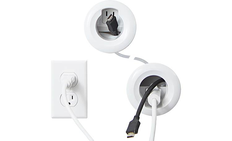 Sanus WSIWP1-W1 In-Wall Cable Management Kit Shown installed (AC receptacle and signal cables not included)