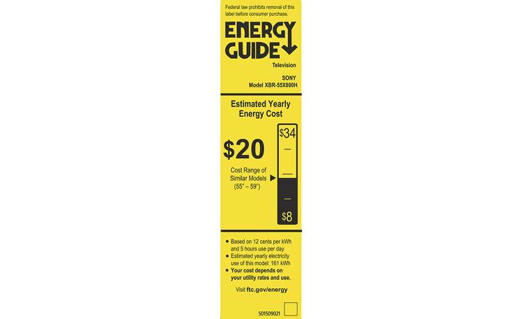 Sony XBR-55X800H Energy Guide