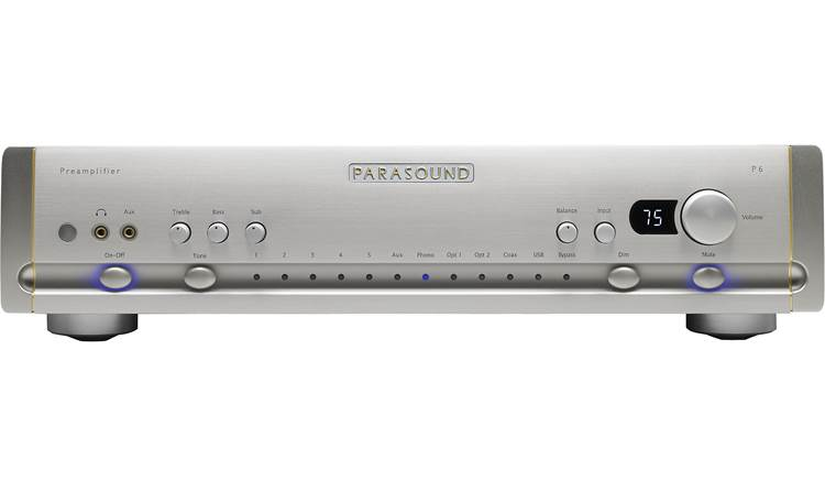Parasound Halo P 6 Front panel includes 3.5mm headphone output and aux input