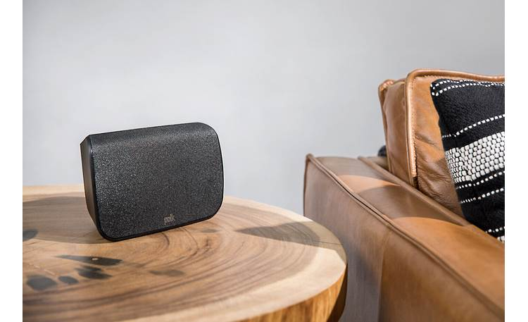 Polk Audio Magnifi MAX + SR1 Speakers can also be placed on a table