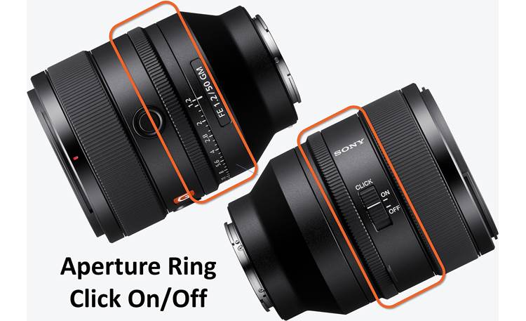 Sony FE 50mm f/1.2 GM Aperture click switch gives you tactile feedback when shooting stills