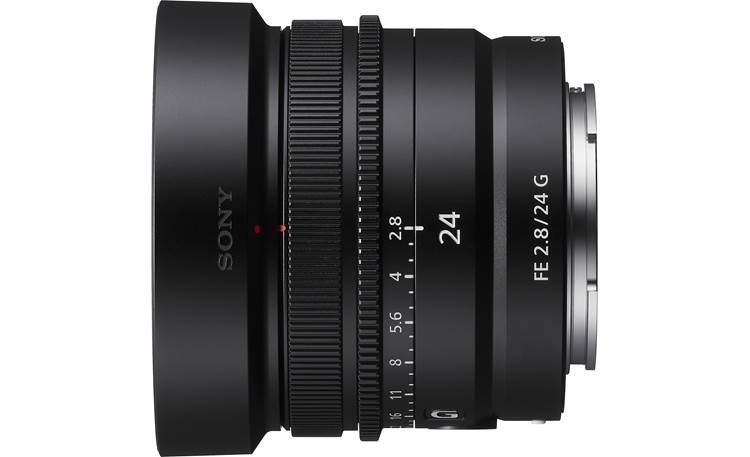 Sony FE 24 mm f/2.8 G Shown with included lens hood installed