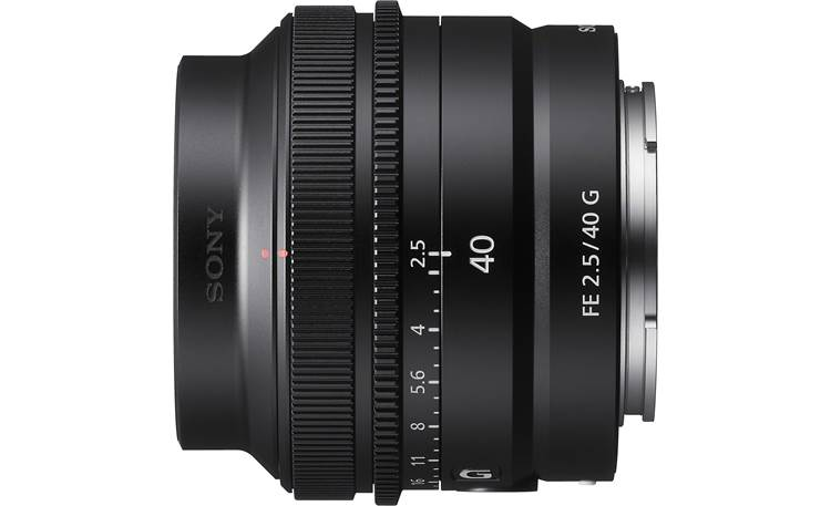 Sony FE 40mm f/2.5 G Shown with lens hood installed
