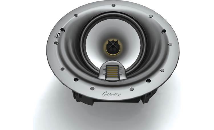 GoldenEar Invisa HTR 7000 Drivers are angled to project the sound from the ceiling toward the listener's position