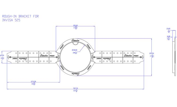 GoldenEar Invisa 525 Rough-in Brackets Illustration of a single bracket (two brackets are included)
