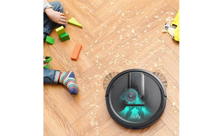 eufy RoboVac 35C Dual rotating side brushes sweep dirt into vacuum path