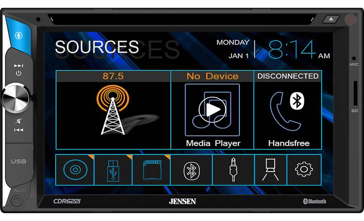 Jensen CDR6221 Easy-to-use icons and a handy volume knob distinguish this economical touchscreen stereo
