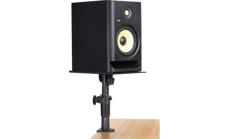 Gator Frameworks Desktop Clamp-On Studio Monitor Stands Shown with monitor in vertical orientation (not included)