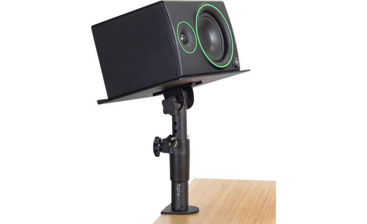 Gator Frameworks Desktop Clamp-On Studio Monitor Stands Shown with monitor in horizontal orientation (not included)