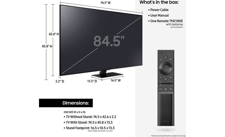 Samsung QN85Q80A Dimensions from manufacturer may vary slightly from Crutchfield's measurements