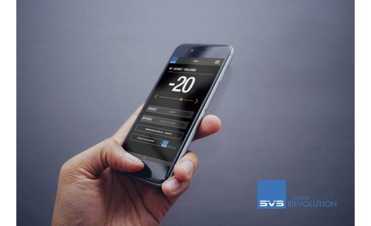 SVS SB-1000 Pro Access DSP controls with a convenient smartphone app (Android 4.42 or higher; iPhone 5 or higher)