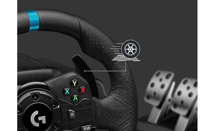Logitech G G923 + Drive Force Shifter (Xbox®) Dual clutch launch assist lets you get out of the gate faster and with less smoke