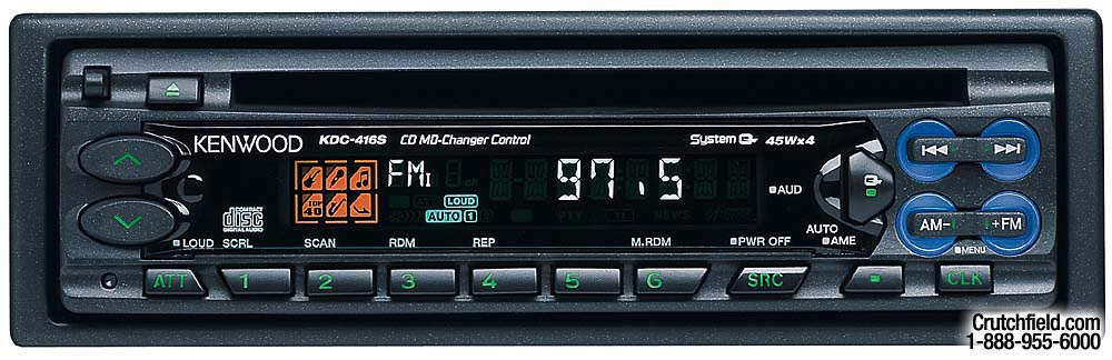 Kenwood KDC-416S CD receiver with CD/MD changer controls at ... on