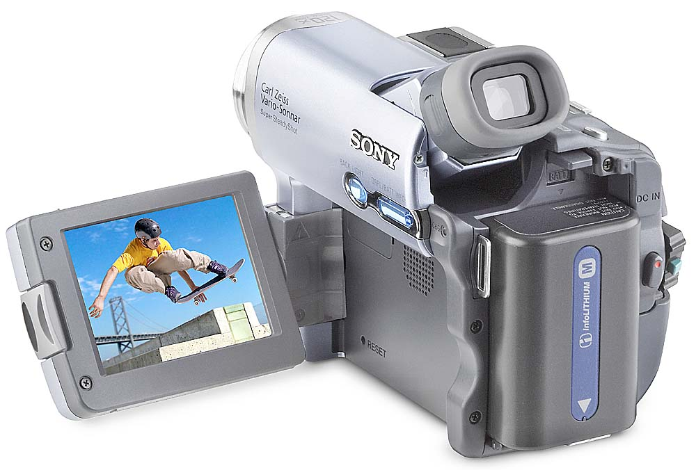 Image of a Sony DCR-TRV22 Mini DV digital camcorder. It has a swivel viewscreen and at the time that it came out 18 years ago, was a very nice little camcorder.