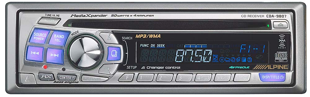 alpine cda 9807 cd mp3 wma receiver with cd changer controls at rh crutchfield com
