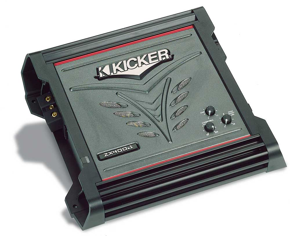 Kicker ZX400.1 Mono subwoofer amplifier 400 watts RMS x 1 at 2 ohms at  Crutchfield.com