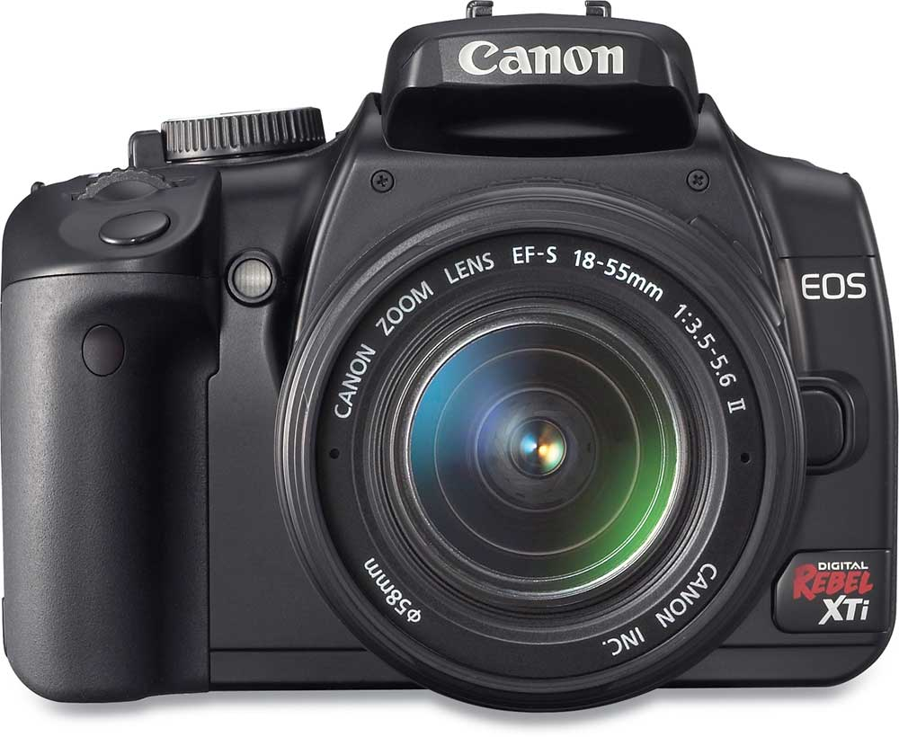 Canon EOS Digital Rebel XTi Kit (Black) 10.1-megapixel digital SLR camera  with 18-55mm zoom lens at Crutchfield.com