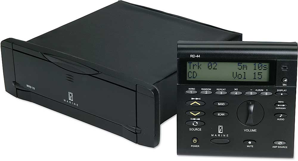 Poly-Planar MRD-70 (Black) Marine CD/MP3 receiver with RD-44 remote head Available in 2 colors at Crutchfield.com