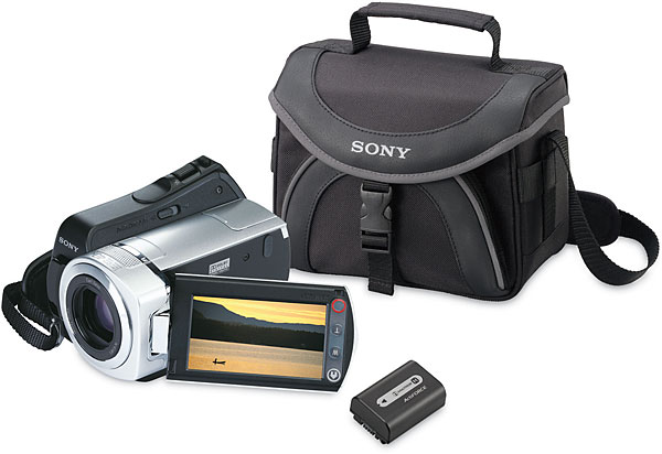 Sony DCR-SR45 Special Value Package Hard drive camcorder with spare battery and carrying case
