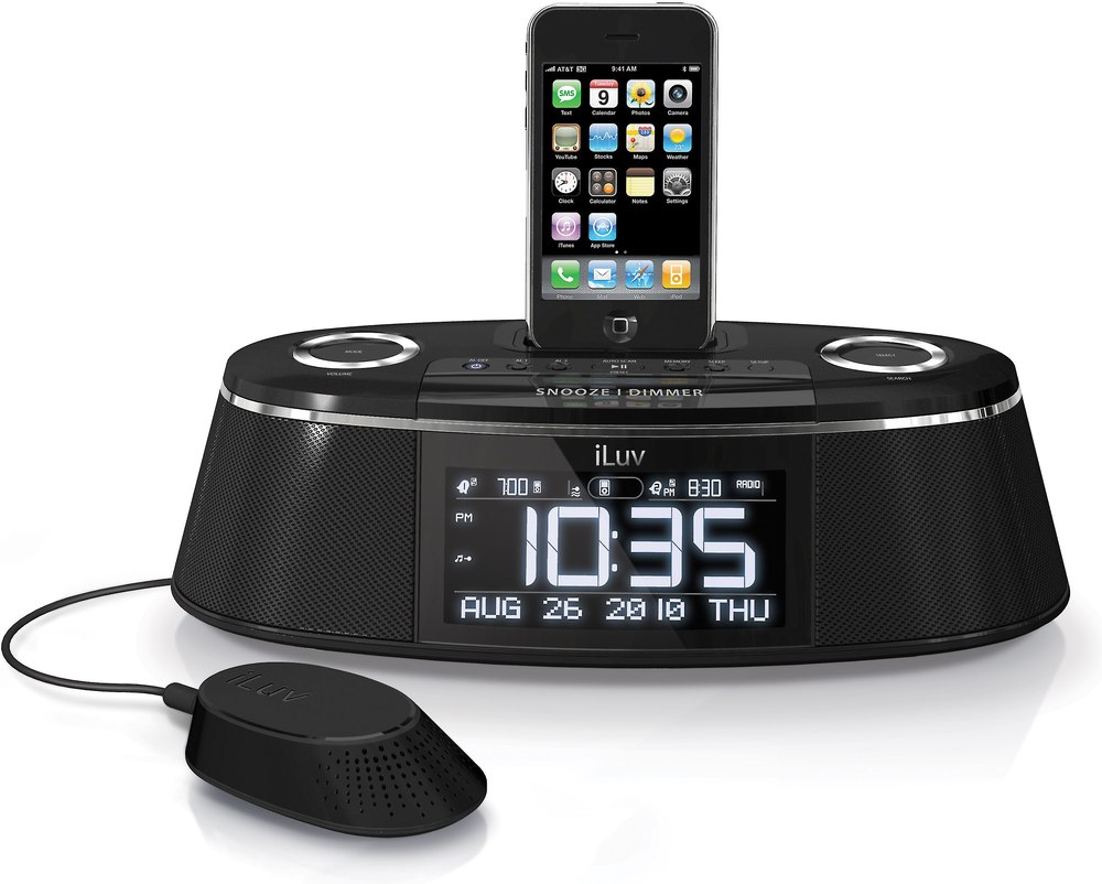 Iluv Imm178 Vibe Plus Clock Radio With Built In Ipod Iphone Dock Wiring Kit Instructions And Bed Shaker Alarm Speaker At