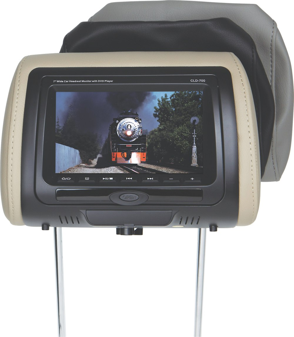 "Concept CLD-700 Universal headrest with built-in 7"" monitor and DVD player  at Crutchfield.com"