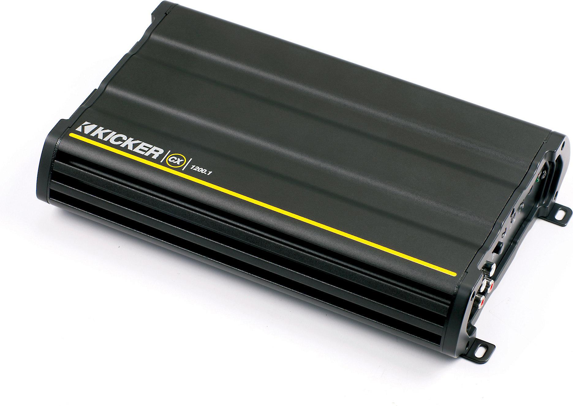 kicker 12cx1200 1 mono subwoofer amplifier — 1200 watts rms x 1 at 2 ohms  at crutchfield