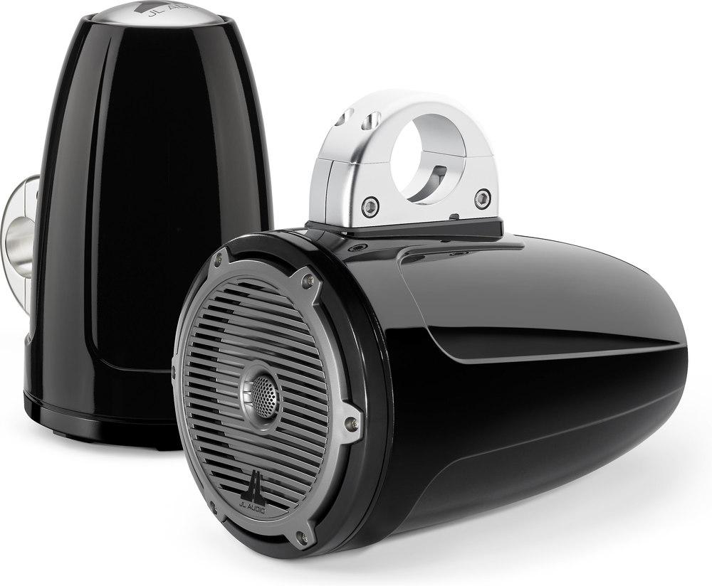 "JL Audio M770-ETXv3-CG-TB (Gloss Black w/ Titanium ""Classic"" grilles) 7.7""  M-Series wakeboard tower speakers at Crutchfield.com"