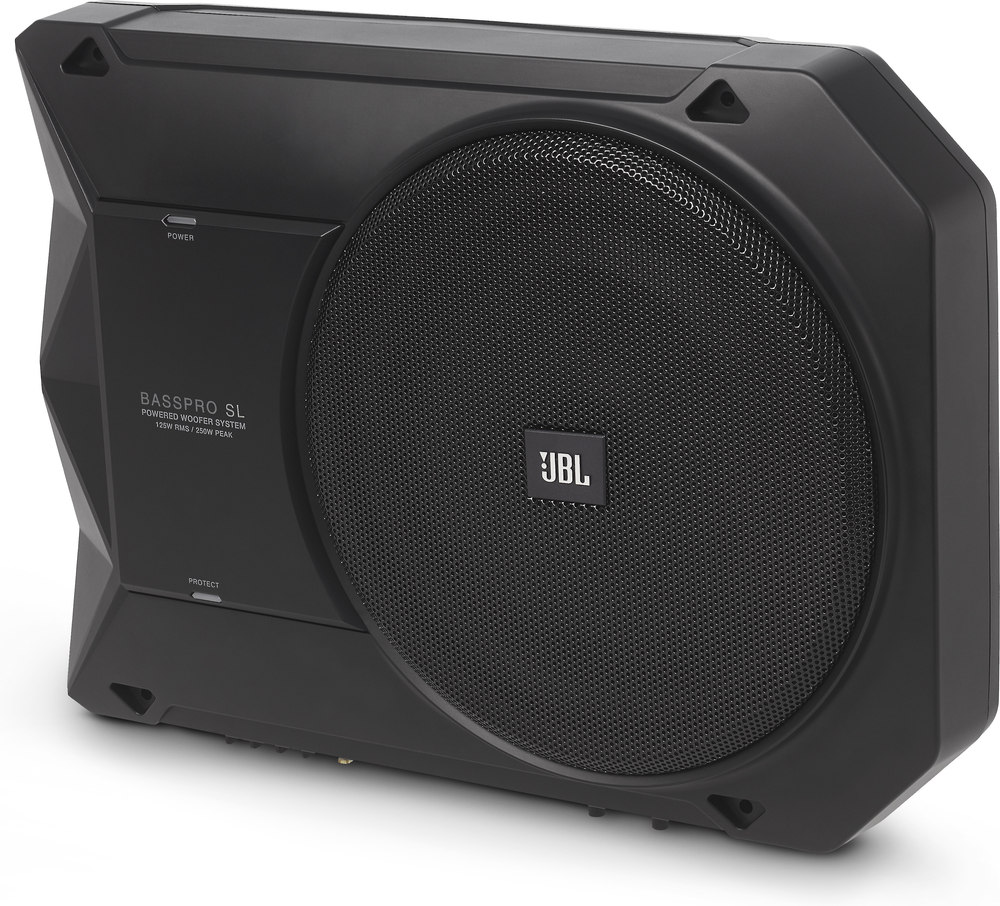 "JBL BassPro SL 8"" compact powered under-seat subwoofer enclosure at  Crutchfield.com"