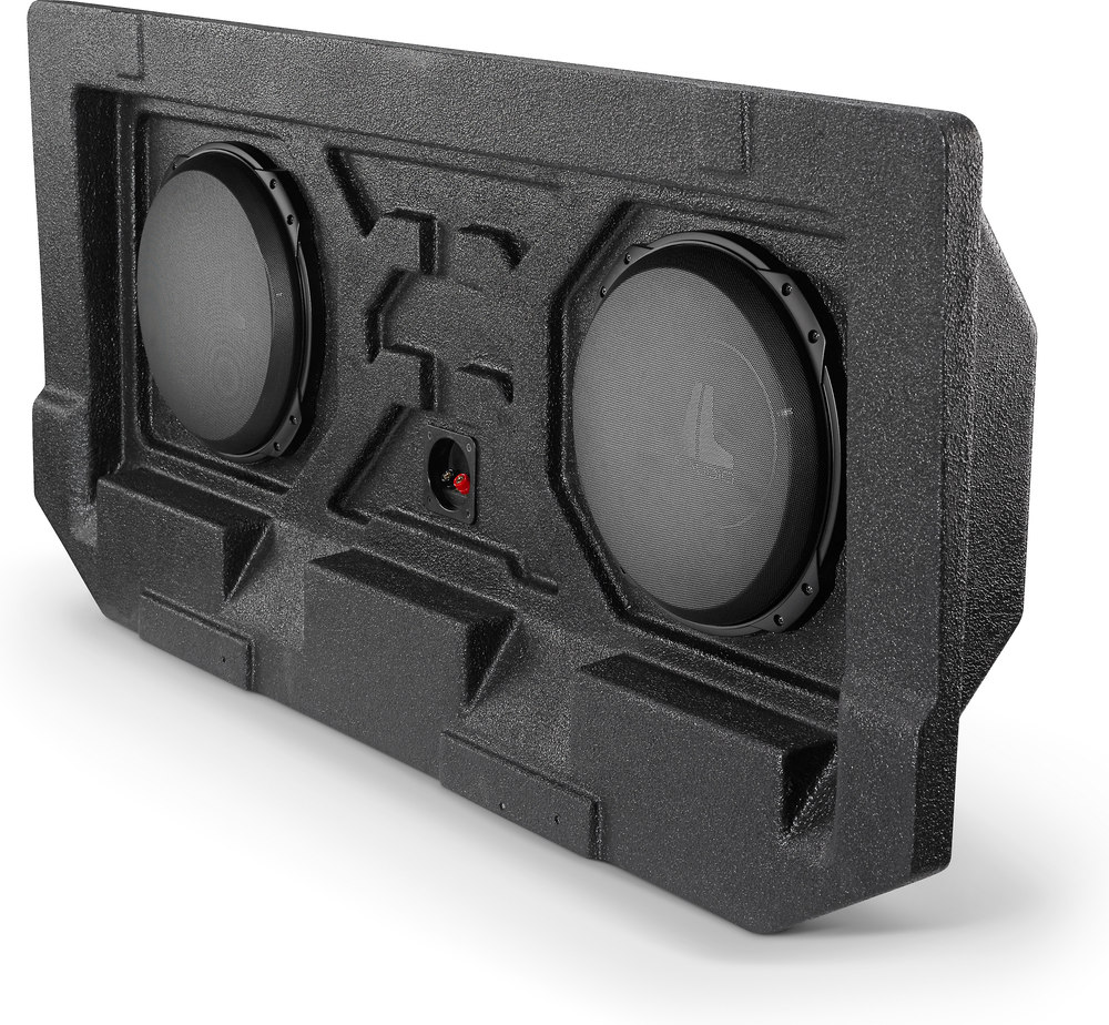 Jl audio stealthbox custom fit fiberglass enclosure with two 12 w3v4 subwoofers fits 2002 13 chevrolet avalanche and 2002 09 cadillac escalade ext