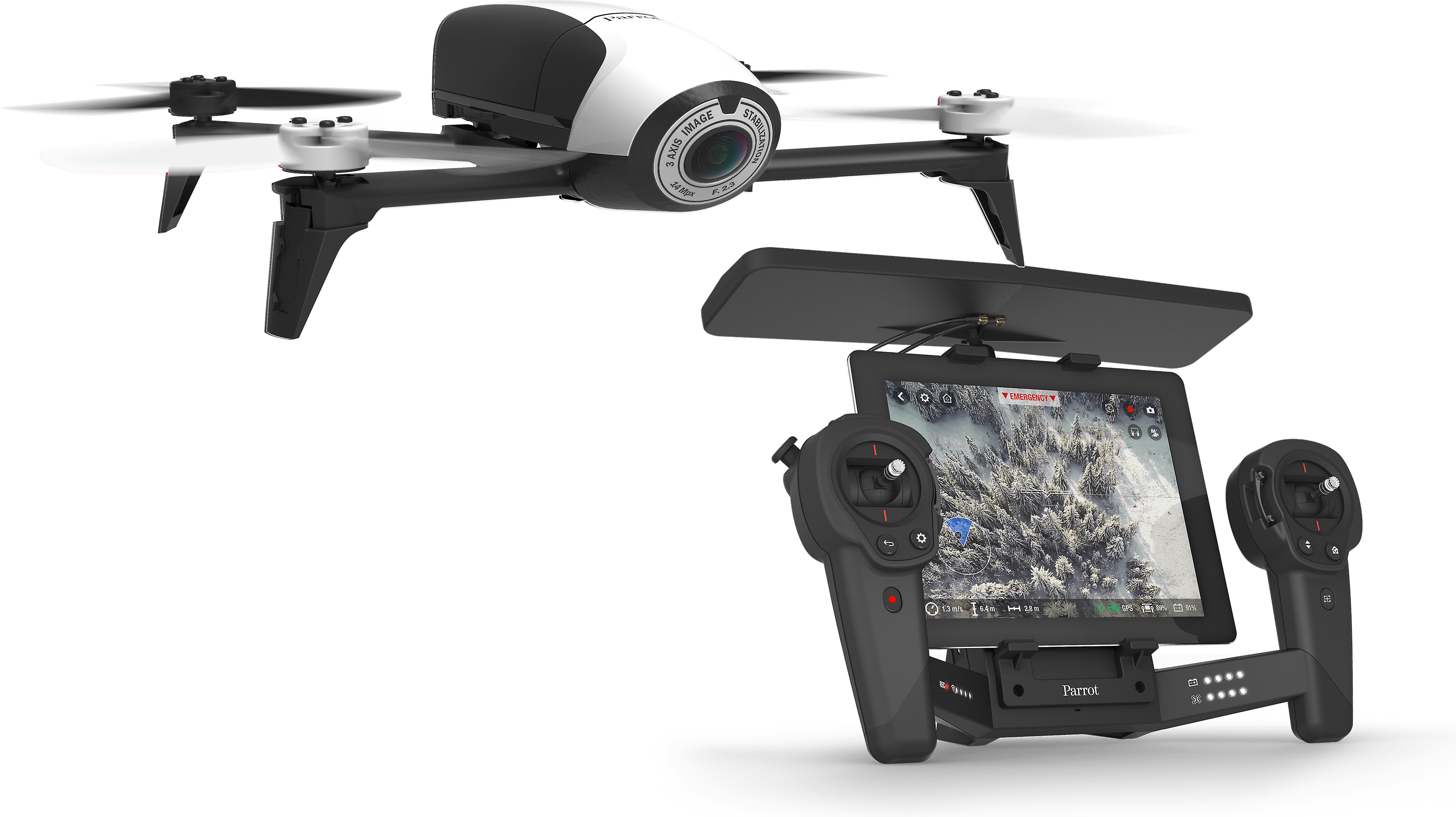 Parrot Bebop 2 Drone and Skycontroller Black Bundle (White/Black)