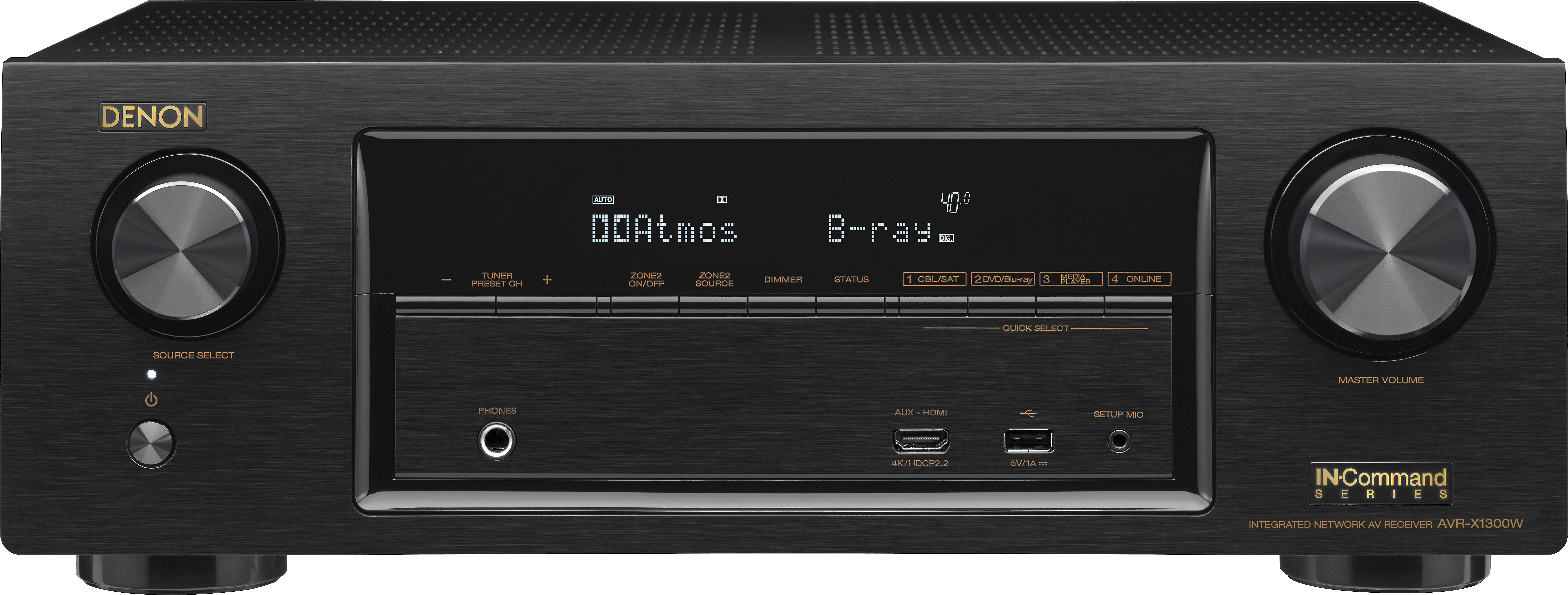 bd36562f7fa Denon AVR-X1300W 7.2-channel home theater receiver with Wi-Fi®, Bluetooth®,  Apple® AirPlay®, and Dolby Atmos® at Crutchfield.com
