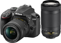 Nikon D3400 Two Lens Kit with 18-55mm VR and 70-300mm ED ...