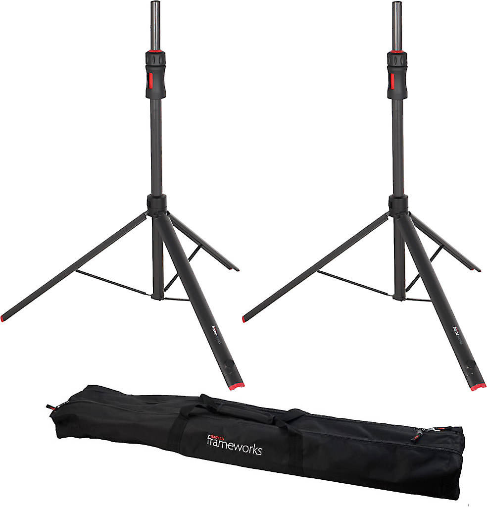 Gator Frameworks ID Speaker Stands Pair of speaker stands with  piston-driven height adjustment at Crutchfield