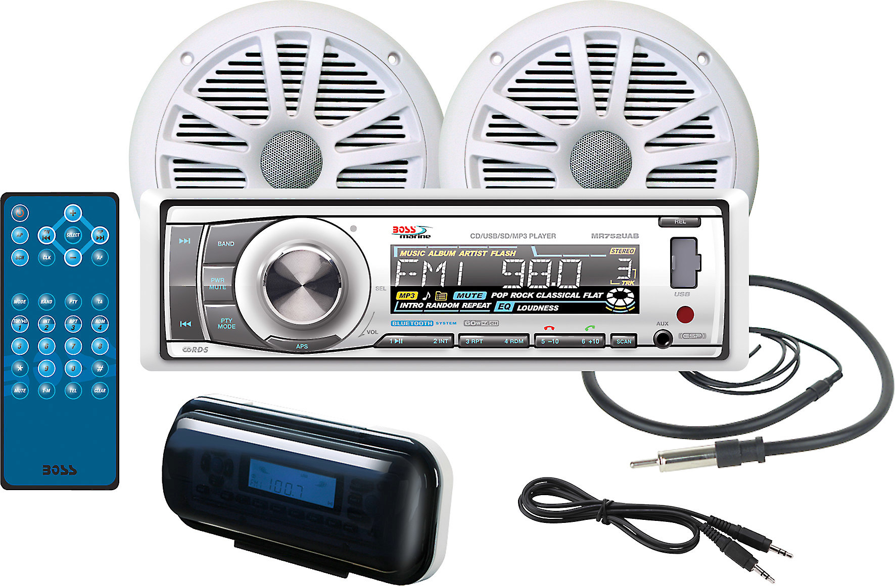 Boss MR752UAB Marine CD//MP3//USB//SD//Radio Player Receiver+Bluetooth+Remote+Cable