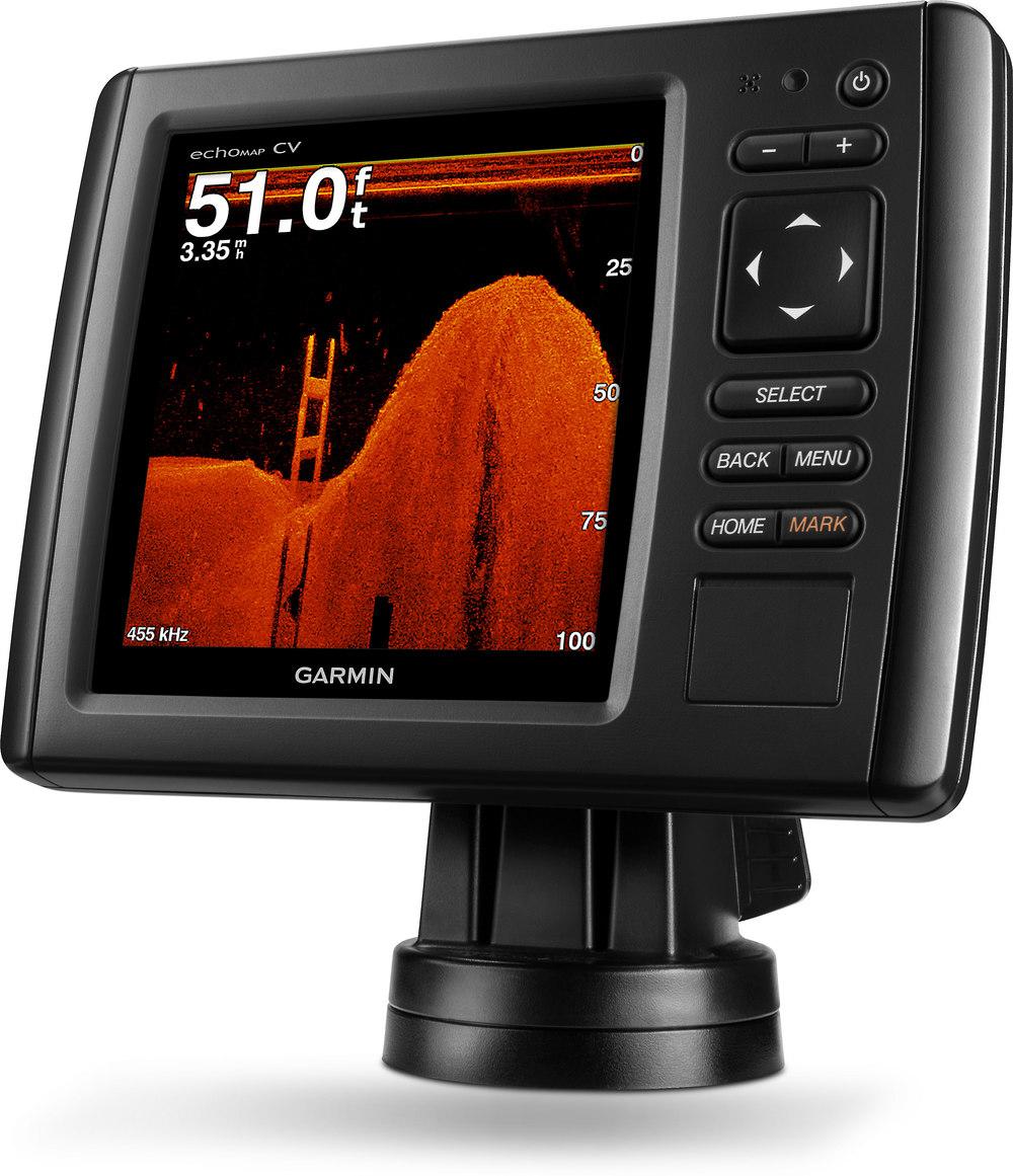 "Garmin echoMAP 54CV 5"" chartplotter with CHIRP and CHIRP ClearVü scanning  sonar, plus preloaded BlueChart g2 coastal maps at Crutchfield.com"