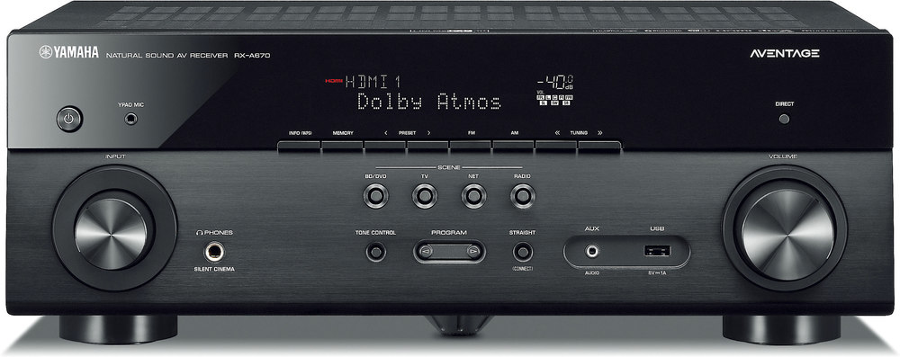 Yamaha AVENTAGE RX-A670 7.2-channel home theater receiver with Wi-Fi®, Bluetooth®, MusicCast, and Dolby Atmos® at Crutchfield.com
