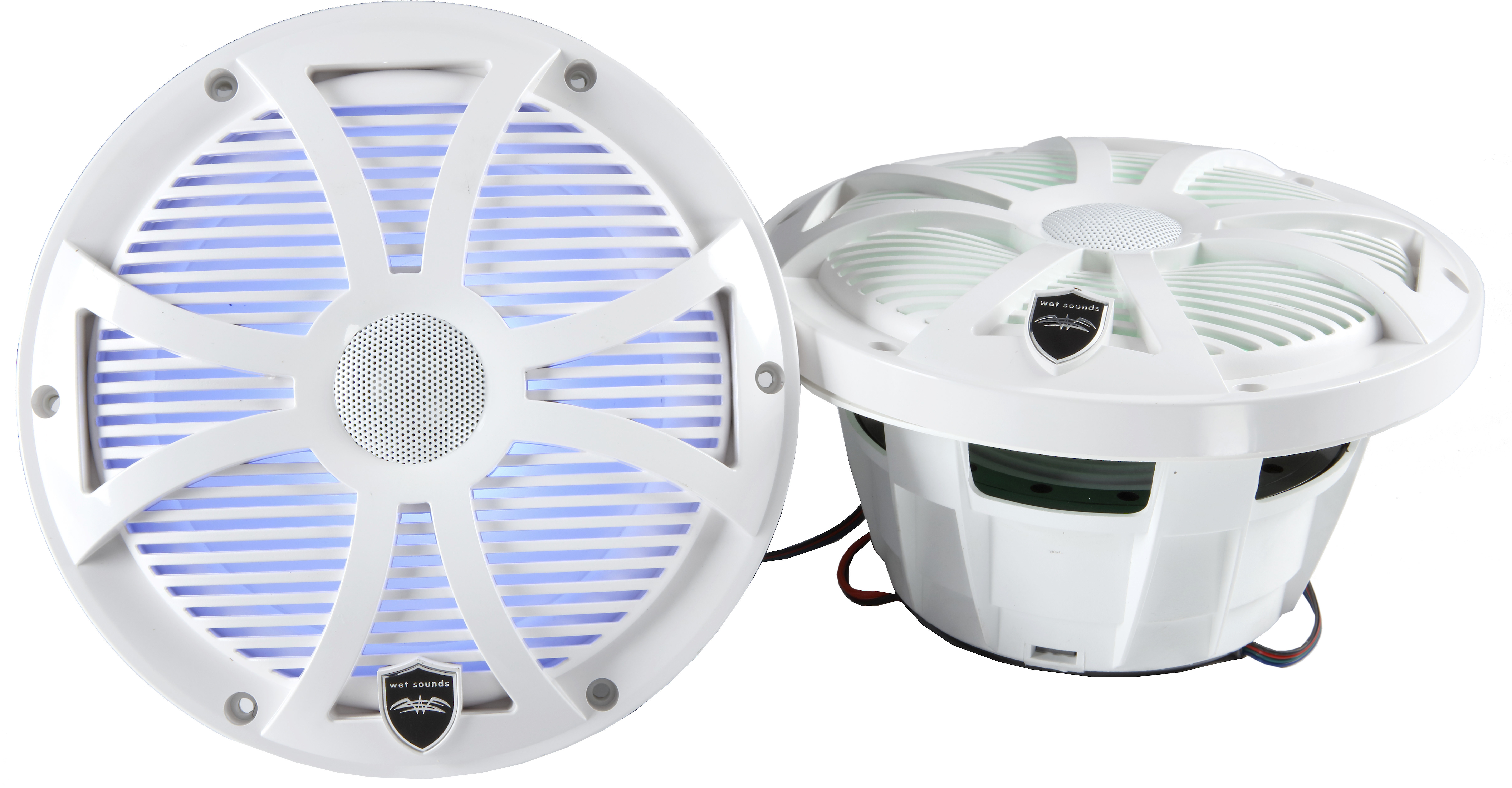Wet Sounds REVO 8-SWW White Closed SW Grille 8 Inch Marine LED Coaxial Speakers Pair