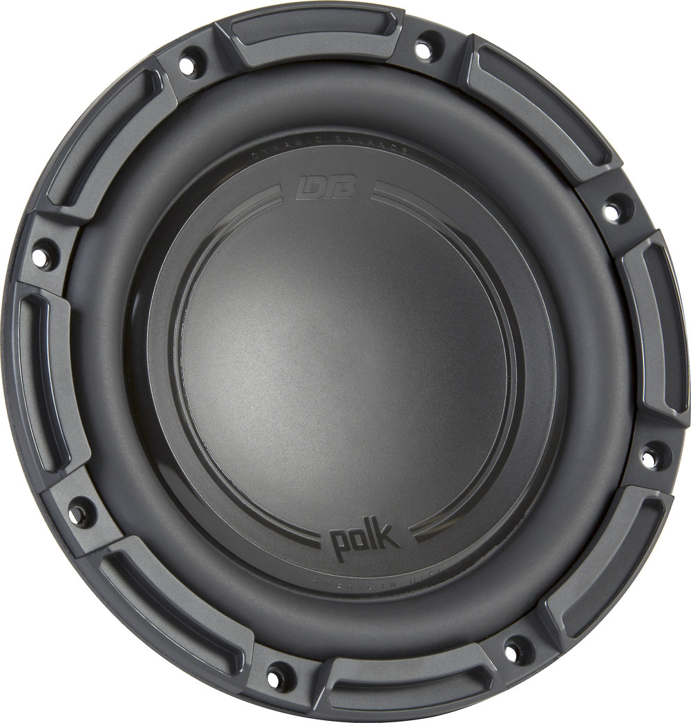 "Polk Audio DB 842 DVC DB+ Series shallow-mount 8"" subwoofer with dual 4-ohm  voice coils at Crutchfield.com"