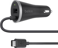 "Belkin USB-C Car Charger  4"" USB-C Cable, USB-A port, Black"