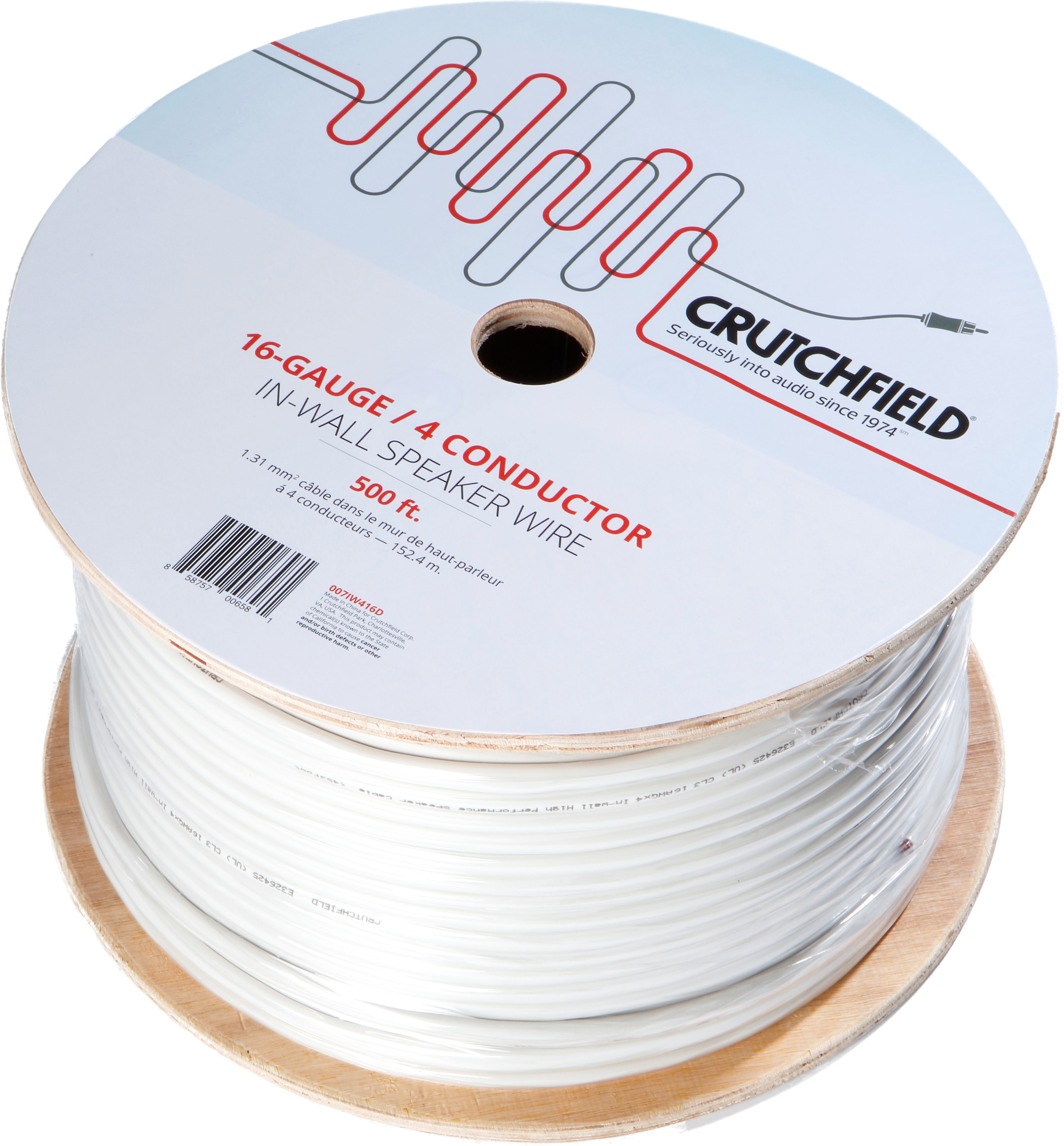 Speaker Wire Gauge >> Crutchfield In Wall Speaker Wire 500 Ft Roll 16 Gauge 4 Conductor Wire At Crutchfield