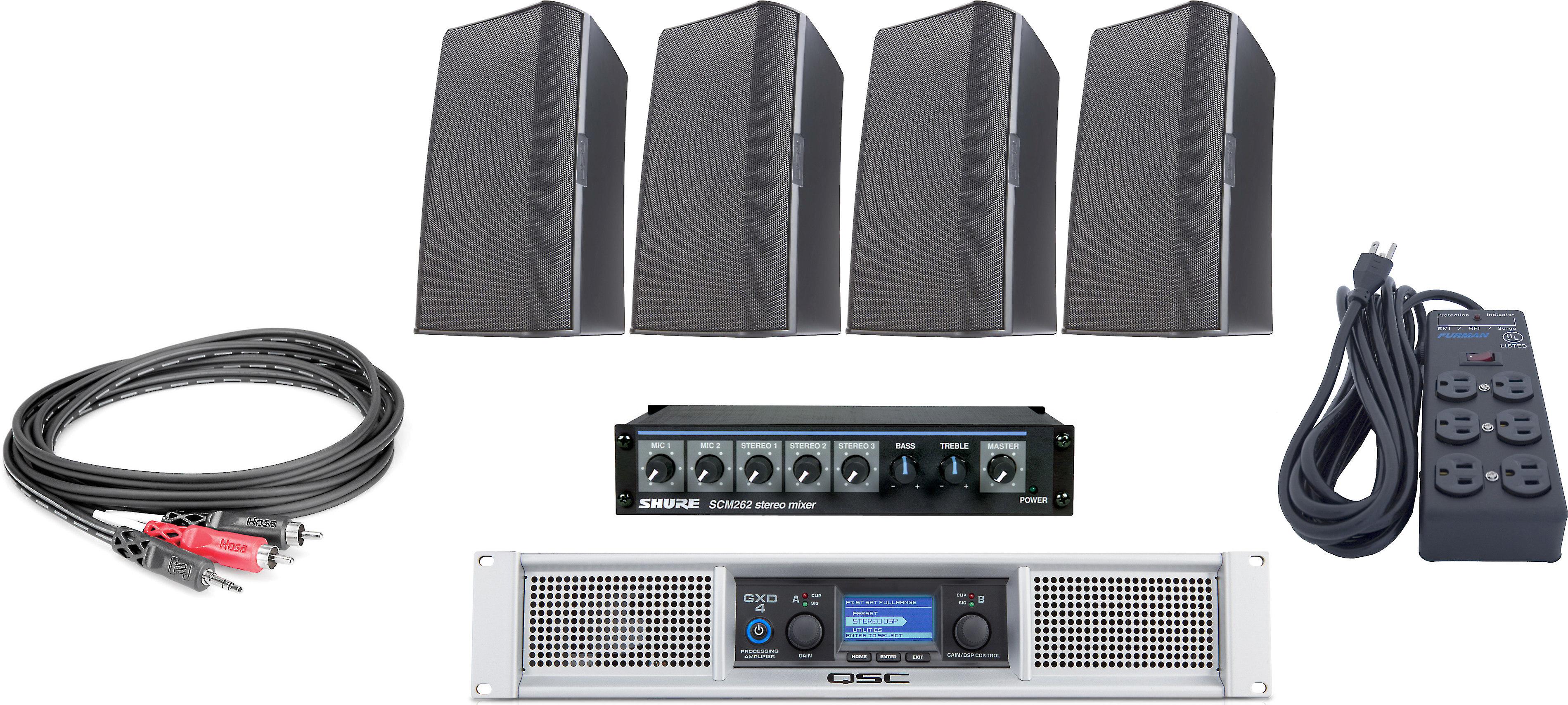 QSC Gym Sound System Bundle
