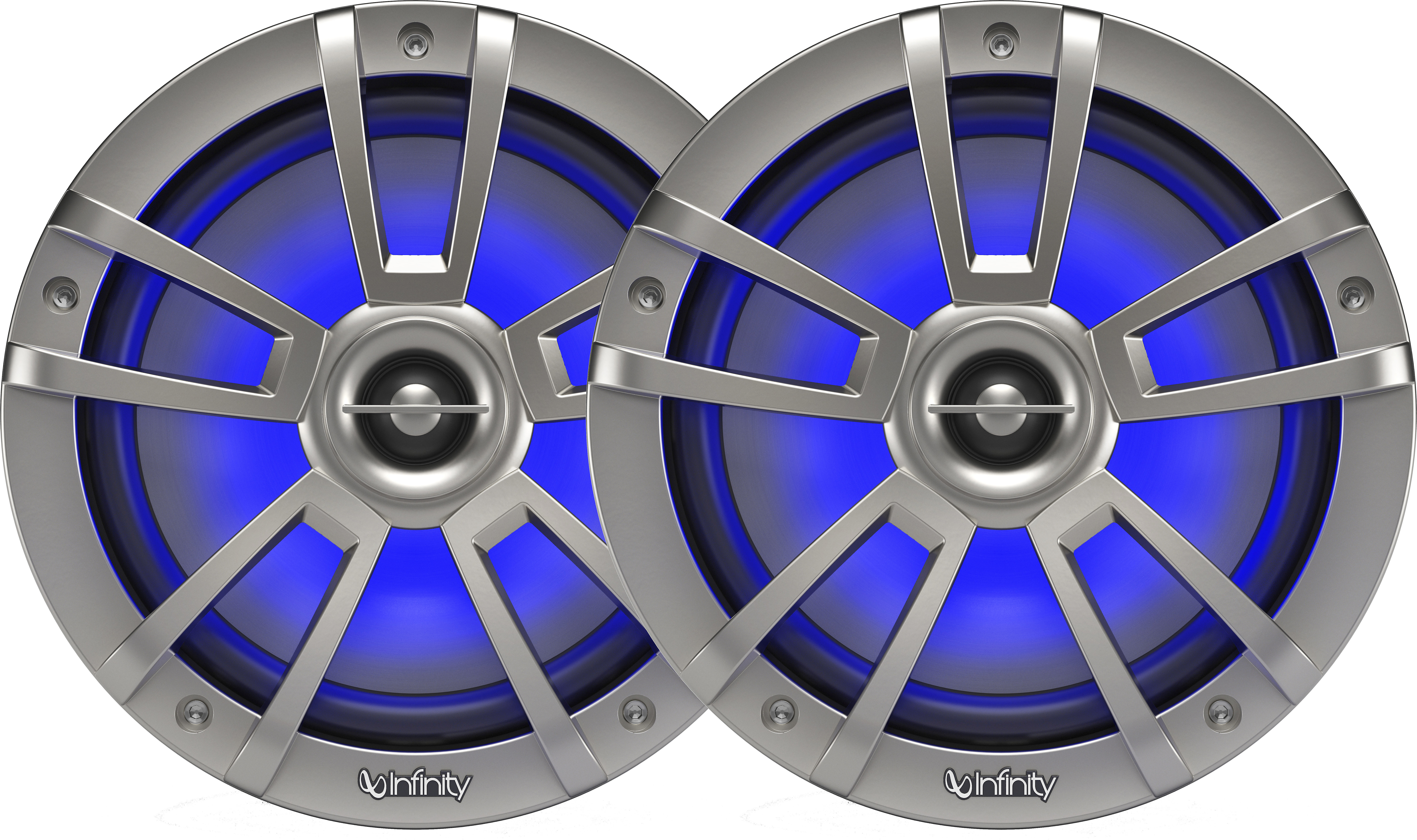 White Infinity 822MLW Marine 8 Inch RGB Speakers Infinity Marine Bundle