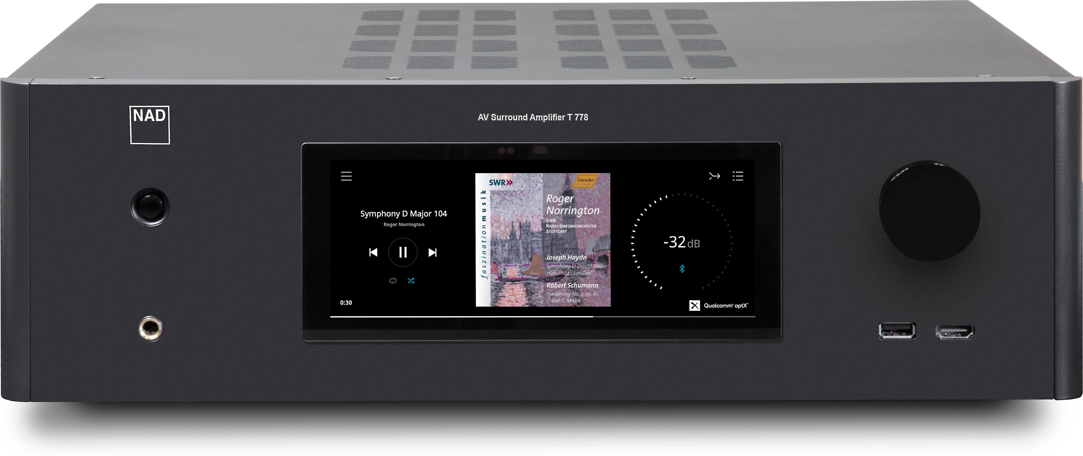 NAD T 778 9.2 channel home theater receiver with Wi Fi®, BluOS™, Bluetooth®, Apple AirPlay® 2, and Dolby Atmos® at Crutchfield