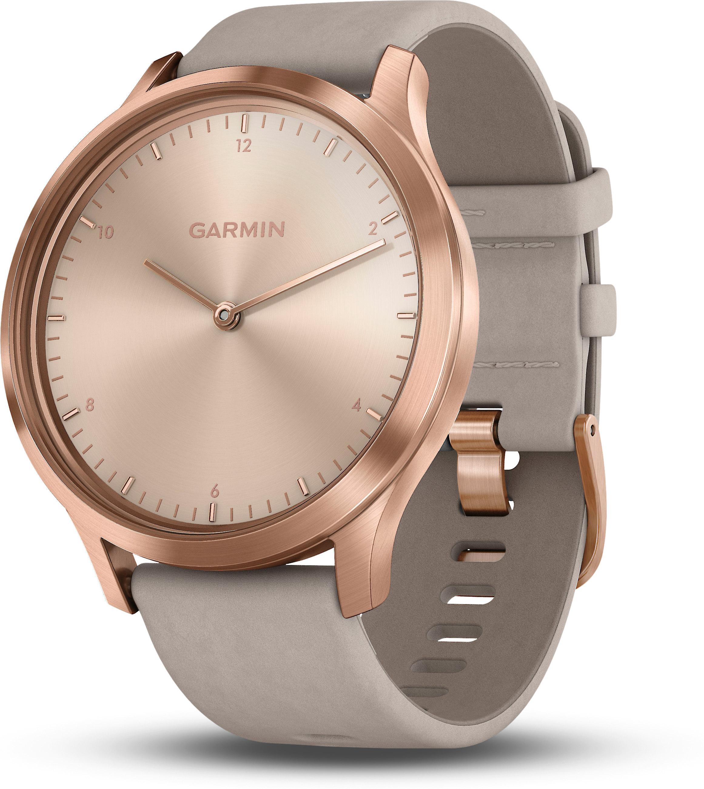 Garmin vivomove® HR (Premium model, rose gold w/gray suede band — one size)