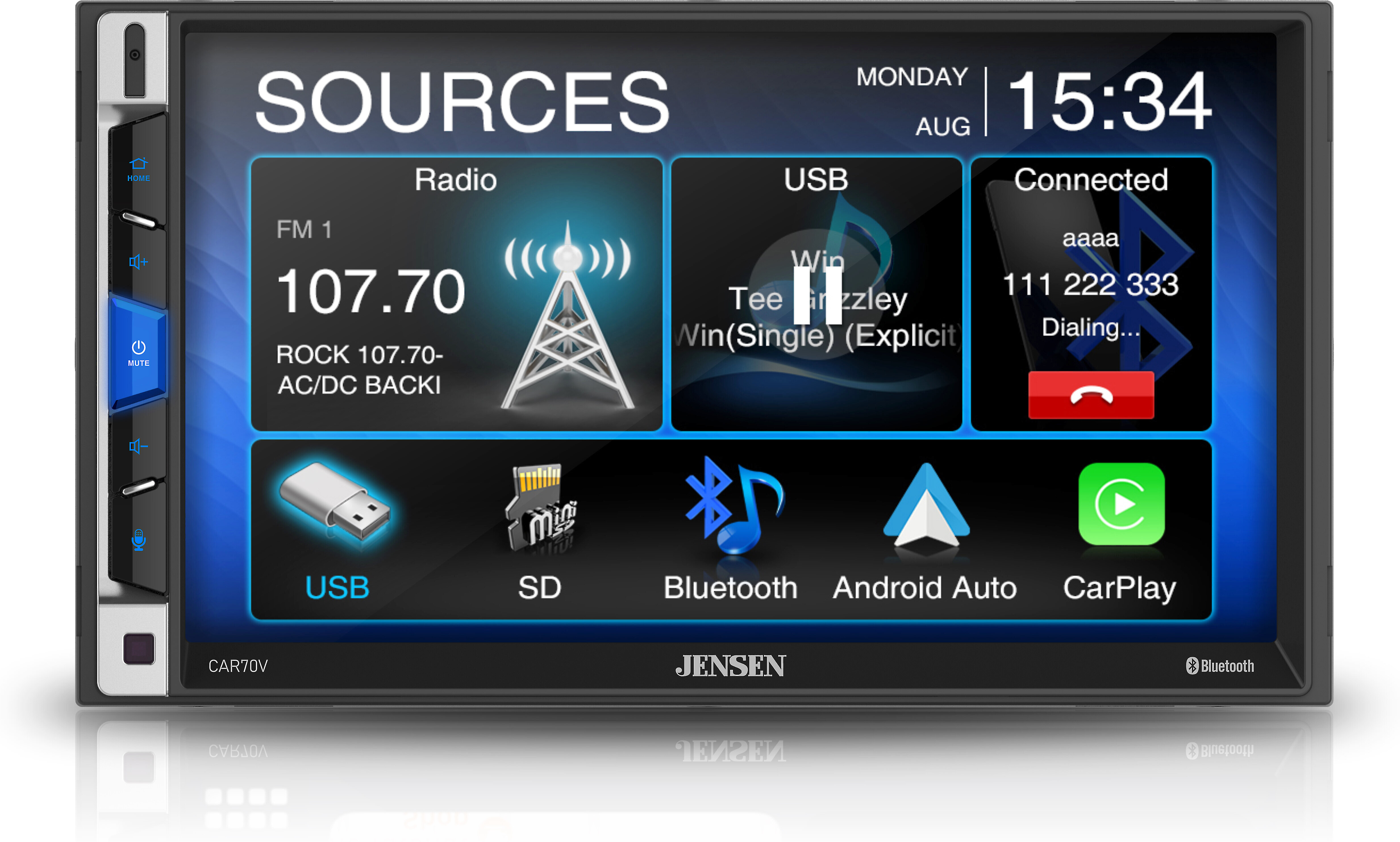 Jensen CAR70V 7 Digital Media Receiver Compatible with Android Auto and Apple CarPlay