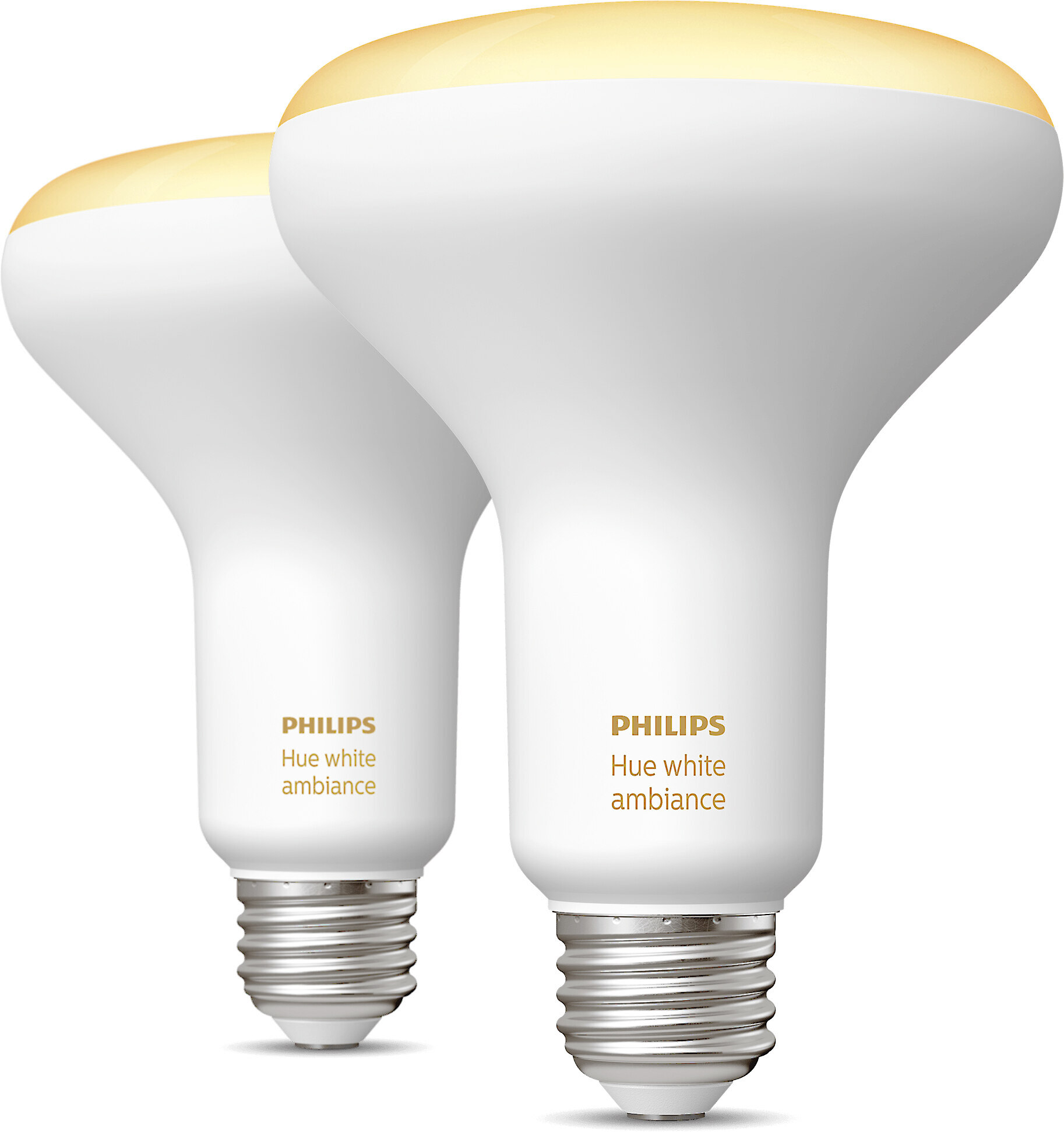 Philips Hue White Ambiance Br30 Bulb 2 Pack Two Led Floodlight Bulbs With Dimmable Shades Of White Light And Bluetooth At Crutchfield